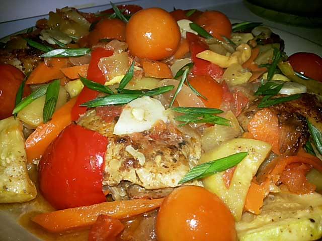 Тушеные овощи с куриной грудкой рецепт пошагово